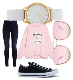 """""""sharing is caring"""" by izzyfifteen on Polyvore featuring Vivani, Monki, Quay and Converse"""