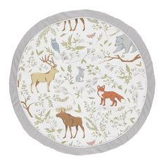 Sweet Jojo Designs Grey, Green and Brown Playmat Tummy Time Baby and Infant Play Mat for Woodland Animal Toile Collection