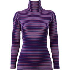 UNIQLO HEATTECH Polo Neck Striped T-Shirt ($6.94) ❤ liked on Polyvore featuring tops, t-shirts, striped top, layering tee, holiday t shirts, turtleneck t shirt and holiday tops
