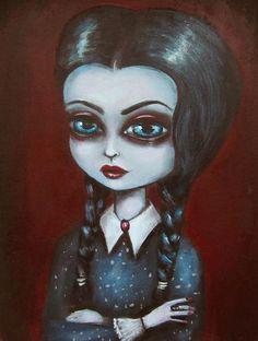 WEDNESDAY ADDAMS gothic big eye lowbrow giclee PRINT by ninafriday, $50.00