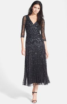 1920s style evening gown -  Petite Womens Pisarro Nights Beaded Mesh Dress $189.00 AT vintagedancer.com