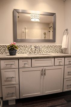 Bathroom Mirror And Backsplash Idea For The Home Pinterest Vanities Dark Wood And Sinks