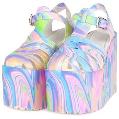 UNIF | HELLA JELLY PLATFORMS (585 HRK) ❤ liked on Polyvore featuring shoes, sandals, jellies, pink, unif, pink jelly sandals, pink platform sandals, unif shoes and jelly sandals
