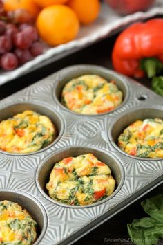 These Breakfast Egg Cups are the perfect breakfast on-the-go. Make them ahead of time, refrigerate or freeze them, and then heat them in the microwave when you are ready to eat!