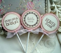 Baby Shower Cupcake Toppers for Baby Girl - Food Picks - Pink and Ivory - Baby Girl Pink - Food Labels. $14.00, via Etsy.