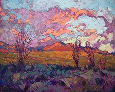 Ocotillos original oil painting by contemporary impressionist Erin Hanson