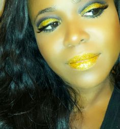 Check it out! Gold Chrome Lips and Eyes at La Jolie Boutique #chrome lips