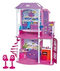 Barbie 2-Story Beach House by Mattel. $37.87. Featuring 2 stories and 4 areas of play. Includes furniture and countless house hold accessories. Play areas include living room with spiral staircase, bed room, bath room, and kitchen. Girls can arrange and rearrange the furniture and piece-count for endless fun. With Barbie's new Beach House, the fun never ends. From the Manufacturer                Barbie 2-Story Beach House: With two stories and four areas of play in the Barb...