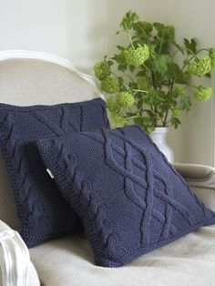 Cable Knit Cushion - Navy Blue from Nordic House 40pounds each