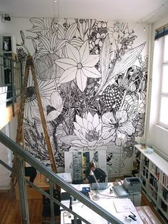 If I ever get a loft style apartment... something like this on one big wall would be amazing.