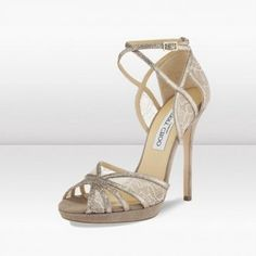 JIMMY CHOO NUDE GLITTER AND LACE SANDALS $168
