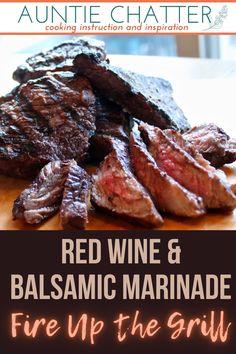 Steak Recipes, Grilling Recipes, Sauce Recipes, Cooking Recipes, Balsamic Marinade, Balsamic Vinegar, Meat Marinade, Beef Dishes, I Love Food
