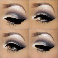 Thick cat eyeliner with cool-toned eye shadow