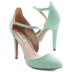 ModCloth Pastel Contemporary Chic Heel (75 BRL) ❤ liked on Polyvore featuring shoes, pumps, heels, sapatos, zapatos, mint, ankle strap heel, prom pumps, high heel stilettos and mint green pumps
