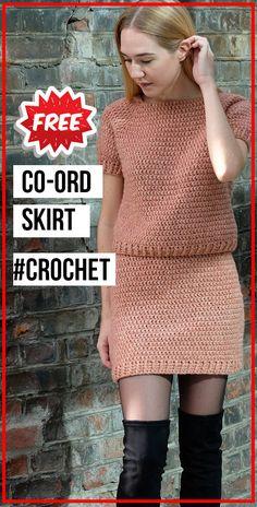 The Crochet co-ord Skirt PATTERN - easy crochet skirt pattern for beginners Skirt Pattern Free, Crochet Skirt Pattern, Crochet Skirts, Crochet Clothes, Womens Skirt Pattern, Skirt Patterns, Coat Patterns, Blouse Patterns, Crochet Toddler