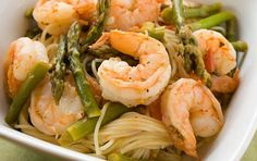 Angel Hair with Shrimp and Asparagus. End your Friday on a light note with Skinnytaste's angel haired pasta paired with succulent shrimp and asparagus. This recipe calls for a light tomato broth which goes well with our mild mannered s. Easy Pasta Dishes, Seafood Dishes, Seafood Recipes, Pasta Recipes, Cooking Recipes, Potato Recipes, Cooking Time, Dinner Recipes, Skinny Recipes