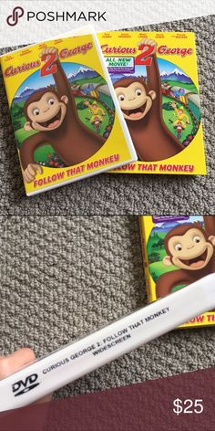 Brand new Curious George movie The world's most beloved monkey is back in Curious George 2: Follow that monkey. This movie includes bonus features of 2 Never-Before-Seen shows from this tv series. Rated G for all ages. A great gift 🎁 Other