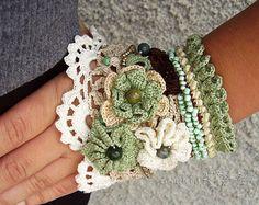 Aros pendientes de ganchillo Crochet aretes por KSZCrochetTreasures