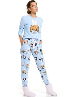 Bunny Dog Waffle Easy Pj Pant Multi - Peter Alexander Online