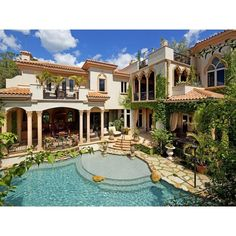 A Mediterranean Mansion with Moorish Flair [33 pics] ❤ liked on Polyvore featuring home