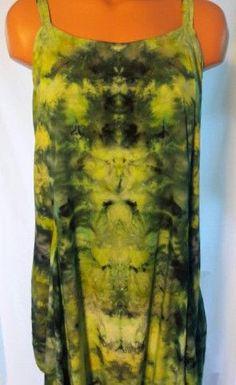 Ice Dyed Flirty Rayon Spaghetti Strap Dress Size Large