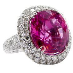Spectacular Tourmaline and Diamond Ring