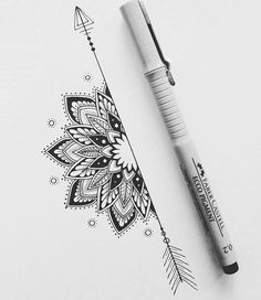 tattoos back of arm above elbow - tattoos back ; tattoos back of arm ; tattoos back of neck ; tattoos back women ; tattoos back spine ; tattoos back shoulder ; tattoos back of arm above elbow ; tattoos back of leg Doodle Art Drawing, Mandala Drawing, Pencil Art Drawings, Half Mandala Tattoo, Sunflower Mandala Tattoo, Mandala Feather, Drawing Flowers, Henna Mandala, Mandala Sketch