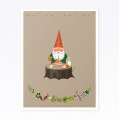 Gnome's Birthday Art Print by clapclapdesign on Etsy, $20.00