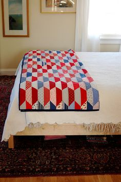 red and blue quilt