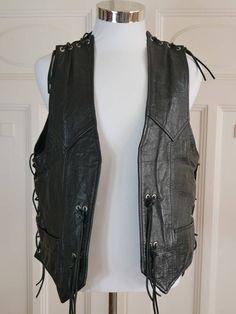 Dutch Vintage Black Leather Vest Men's, Biker Vest, Motorcycle Vest, Motorrijders Leather Waistcoat: Size XL, 42-44 inches by YouLookAmazing on Etsy