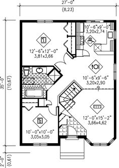Cottage Style House Plan - 2 Beds Baths 928 Sq/Ft Plan Floor Plan - Main Floor Plan I would cut this back to a bit smaller size bedroom Beach House Floor Plans, Best House Plans, Small House Plans, Small House Design, Cottage Design, Garage Apartment Floor Plans, Florida House Plans, Cottage Style House Plans, Building A New Home