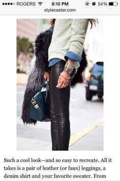 Pleather/Leather Leggings Perfect Outfit.