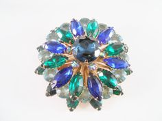 Green Blue Rhinestone Layered Brooch Pin by Libbysmomsvintage
