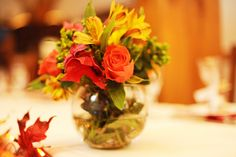 Fall floral centerpieces.
