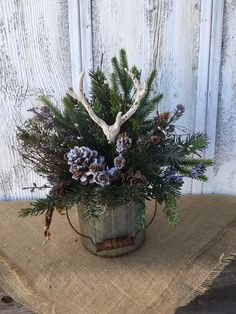Excited to share this item from my shop: Winter Antler Arrangement, Holiday Antler Centerpiece, Table Centerpiece with Antlers, Christmas Antler Decor, FAAP Christmas Table Centerpieces, Outdoor Christmas Decorations, Rustic Christmas, Christmas Home, Antler Centerpiece, Winter Planter, Christmas Floral Arrangements, Flower Arrangements, Christmas Planters