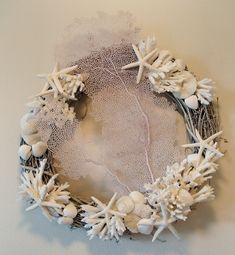 WHITE CORAL WREATH by Marjorie Stafford Design 18 inch grapevine wreath with blush pink sea fan.