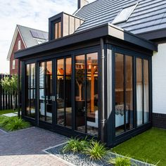 Glass Extension, Construction Process, House Built, Model Homes, Sweet Home, Garage Doors, New Homes, Backyard, House Design