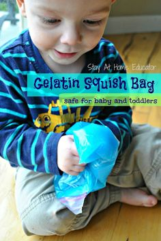 Gelatin squish bags are the perfect sensory bag for babies because the contents are edible and safe. Baby will love playing with this edible sensory bag - Stay At Home Educator