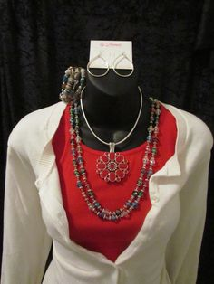 Jubilee and First Choice necklaces with Flipside Enhancer, Julia Earrings and Color Wheel Bracelet