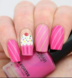 I like the cupcake but do not care for the idea of the stripes on the rest of the nails.