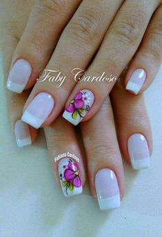 Floral pattern nails step by step Shellac Nail Designs, Shellac Nails, Nail Art Designs, My Nails, Cute Toe Nails, Cute Toes, Nail Patterns, Pattern Nails, Manicure E Pedicure