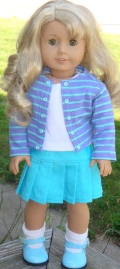 Knit Jacket, Pleated Skirt & Tank Top For 18-Inch Dolls Such As American Girl or…