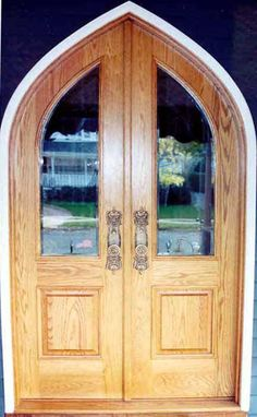 Arch and Round Top Door   DBL-G114ATG-1 Gothic Round Top Glass Panel Double Model   www.VintageDoors.com