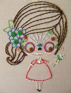 La niña con la máscara de calavera de azúcar (sample de Stitchy Stitcherson)