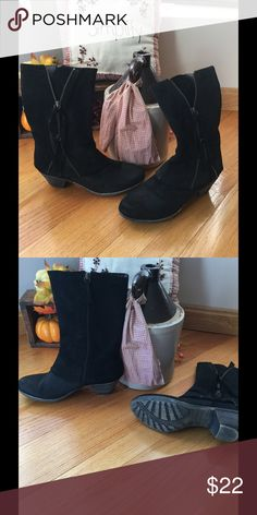 Ladies Boutique 9 boots. Black, 7 1/2 like new. These boots have a no- slip sole and not a mark on them. I only wore them  a few times. They are a size 7 1/2. Boutique 9 Shoes Heeled Boots