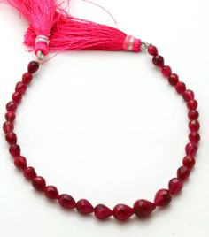 52-Carets-8inch-GENUINE-Red-RUBY-Faceted-DROP-SHAPE-BEADS-Briolettes-4-TO-8-MM