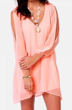 solid pink chiffon dress
