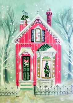 Vintage 1940's hallmark christmas card, festive pink house, glitter, tri-fold