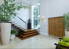 Double height hall House Design, Entrance Foyer, Building A House, Atrium House, Stairs Design, Oak Stairs, Front Door, Church Entrance, House Entrance