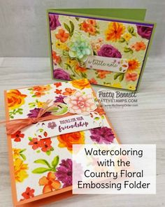 93d136dc5abe58 Watercolor your Country Floral Embossing Folder! Floral Watercolor,  Watercolor Cards, Watercolor Ideas,